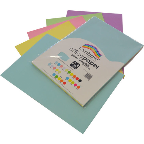 Rainbow Office Paper A3 80GSM 100 Sheets Pastel Assorted Colours
